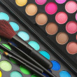 Eye shadows palette and brushes — Stok fotoğraf