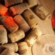 Wine corks with wine reflex — Stock Photo