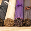 Rolled bamboo mats - Stock Photo