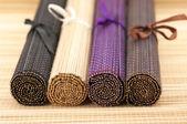 Rolled bamboo mats — Стоковое фото