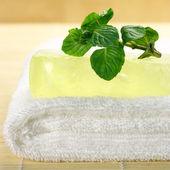 Handmade soap on towel — Stock Photo