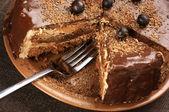 Homemade chocolate cake close-up — Stock Photo