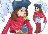 Girl-pirate — Stock Vector