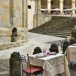 Italian trattoria at Piazza Grande square in Arezzo, Tuscany, Italy — Stock Photo