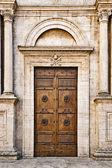 The Pienza Duomo (Cathedral) door, Tuscany, Italy — Stock Photo
