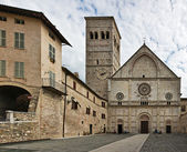 Piazza del Duomo and Cathedral of San Rufino, Assisi, Umbria, Italy — Zdjęcie stockowe