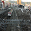 Stock Photo: Train. Railroad tracks and catenary