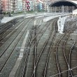 Stock Photo: Railroad tracks and catenary