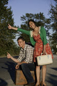 Hitching young couple — Stock Photo