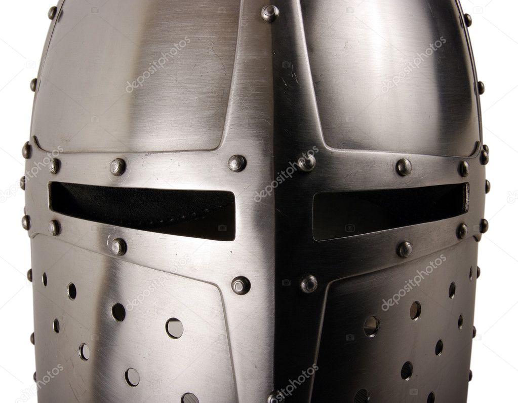 Iron helmet of the medieval knight. Very heavy headdress — Stock Photo #5364920