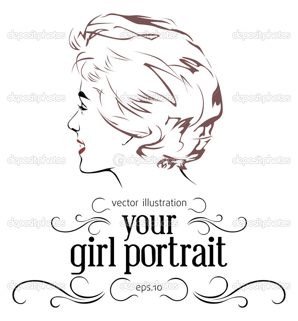 Retro girl portrait in vintage style  — Stock Vector #4733690