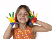 Cute Girl With Finger Paint Hands — Stock Photo
