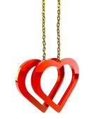 Hearts with a gold chain on white background isolated — Stock Photo