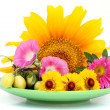 Green plate with August flowers — Stockfoto #4268391