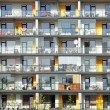 Windows and balconies of a multiroom apartment house — Stock Photo