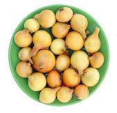 Gelbe zwiebeln auf einem grünen schild — Stockfoto