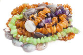 Necklaces from amber, agate and disgraces — Stock Photo