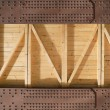 Stock Photo: Metal beams and wooden boards