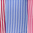 Set of a cotton fabric with red and  blue strips — Stockfoto