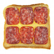 Sandwiches with  salami isolated — Stock Photo