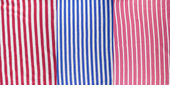 Set of a cotton fabric with red and blue strips — Stock Photo