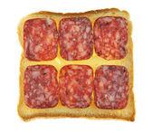 Broodjes met salami geïsoleerd — Stockfoto