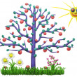 The lonely isolated plasticine apple-tree — Stock Photo