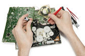 Repair of the radio electronic device — Stock Photo