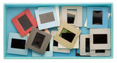 Box with old dusty slides — Stock Photo
