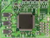 Modern printed-circuit board macro background — Stock Photo