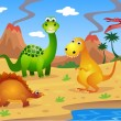 Dinosaurs cartoon - Stock Vector