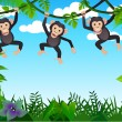 Cute chimp in the forest - Stock Vector