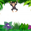 Cute chimp in forest — Stock Vector #5078443