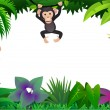 Cute chimp in the forest — Stock Vector
