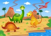 Caricature de dinosaures — Vecteur