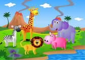Dibujos animados de animales safari — Vector de stock