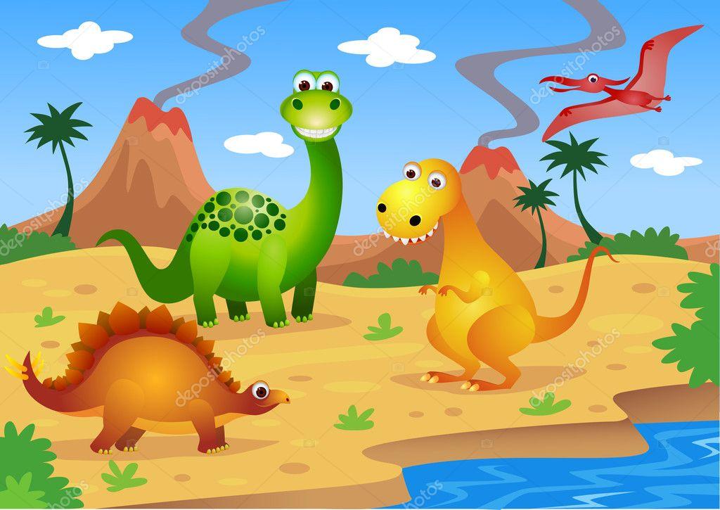 Dinosaurs cartoon stock illustration