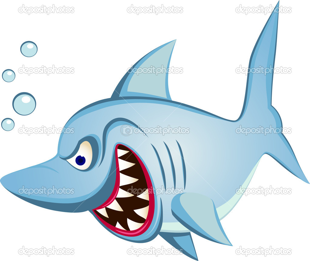 Angry shark cartoon — Stock Vector #5078135