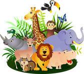 векторный мультфильм животных — Cтоковый вектор