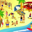 Peoples at beach - Stock Vector