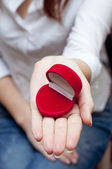 Empty red box for engagement ring — Stockfoto