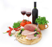 Meat and red wine — Stock Photo