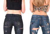 Two jeans girls — Stok fotoğraf