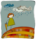 可爱的小女孩伞与书籍 — 图库照片