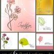 Set of cute spring floral backgrounds — Stock Photo