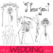 Set of illustrated wedding elements — Stock Photo