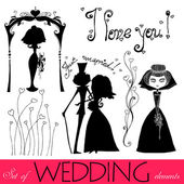Set of illustrated wedding element's silhouettes — Stock Photo