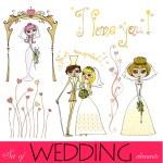 Set of illustrated wedding elements — Stock Photo