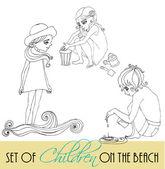Set van geïllustreerde kinderen voor uw zomer-ontwerp — Stockfoto