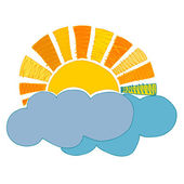 Illustrated retro sun and clouds — Stock Photo